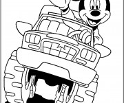 Coloriage Mickey Mouse en Monster Truck