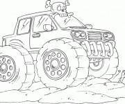 Coloriage et dessins gratuit Monster Truck au désert à imprimer