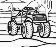 Coloriage Monster Truck au désert américain