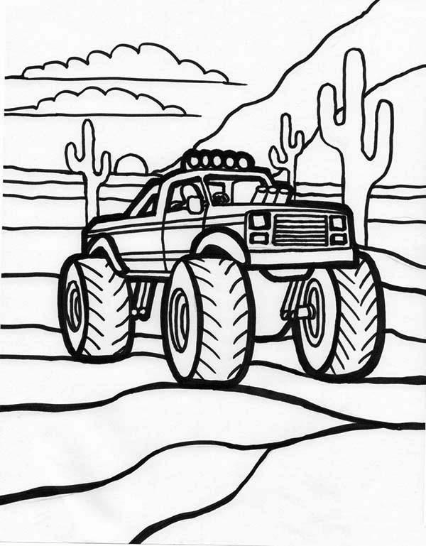 Coloriage et dessins gratuits Monster Truck au désert américain à imprimer