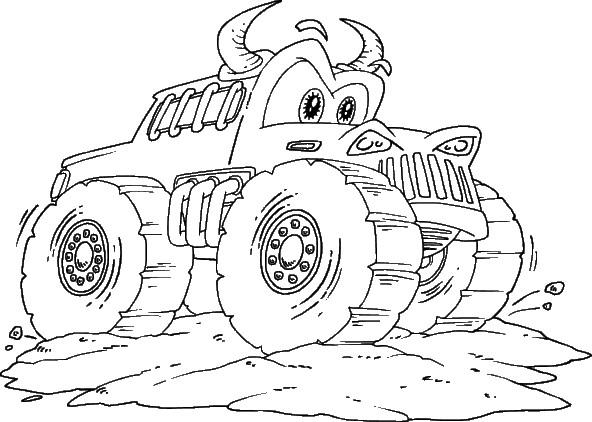 Coloriage et dessins gratuits Monster Truck avec des cornes à imprimer