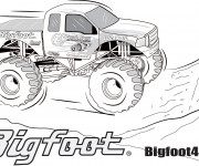 Coloriage Monster Truck Bigfoot stylisé