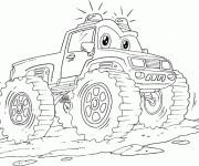 Coloriage et dessins gratuit Monster Truck dessin animé à imprimer