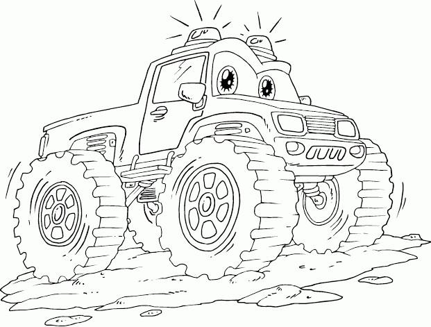 Coloriage et dessins gratuits Monster Truck dessin animé à imprimer