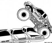 Coloriage Monster Truck écrase les voitures