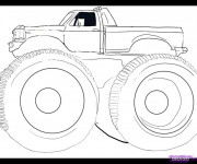 Coloriage Monster Truck en noir