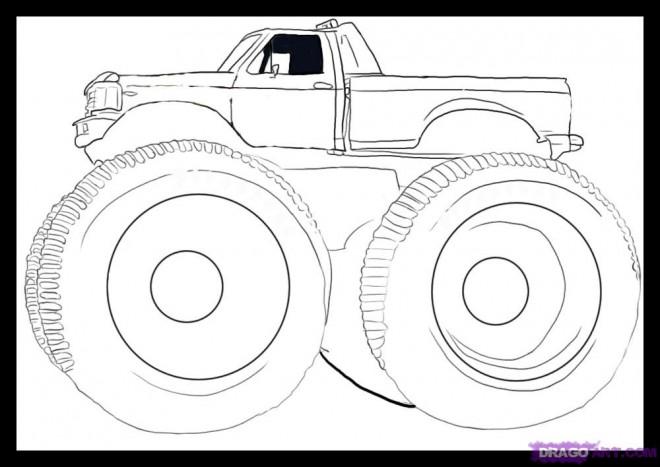 Coloriage et dessins gratuits Monster Truck en noir à imprimer