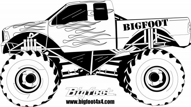 Coloriage Monster Truck en noir