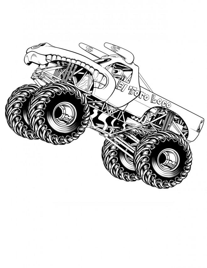 Coloriage et dessins gratuits Monstre 4 X 4 de course à imprimer