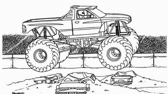 Coloriage et dessins gratuits Paysage de show Monster Truck à imprimer