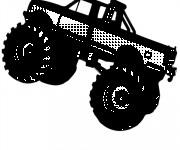 Coloriage Une Véhicule Monster Truck en noir