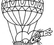 Coloriage et dessins gratuit Animal et Montgolfière pour enfants à imprimer