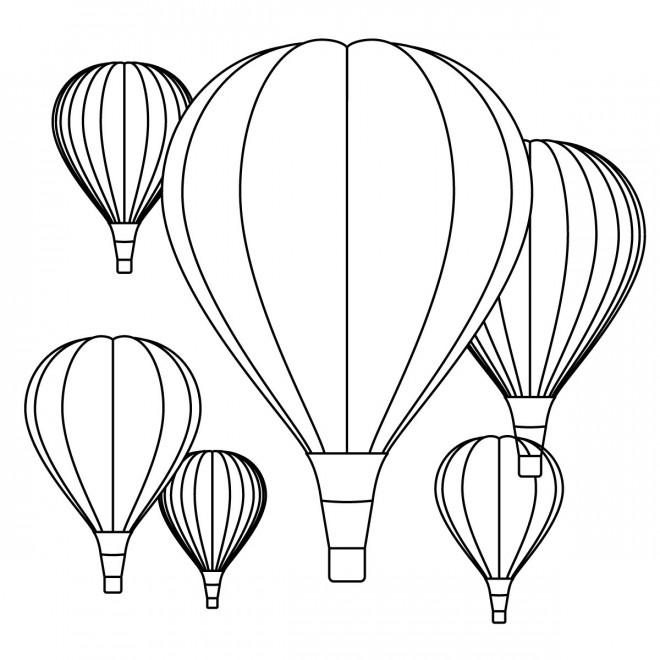 Coloriage et dessins gratuits Des Montgolfières à décorer à imprimer