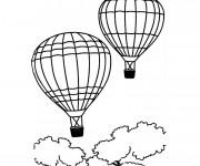 Coloriage Deux Montgolfières au ciel