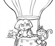Coloriage Dora et Montgolfière