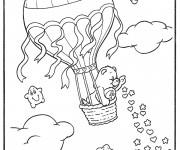 Coloriage et dessins gratuit L'ours dans  Montgolfière chinoise à imprimer