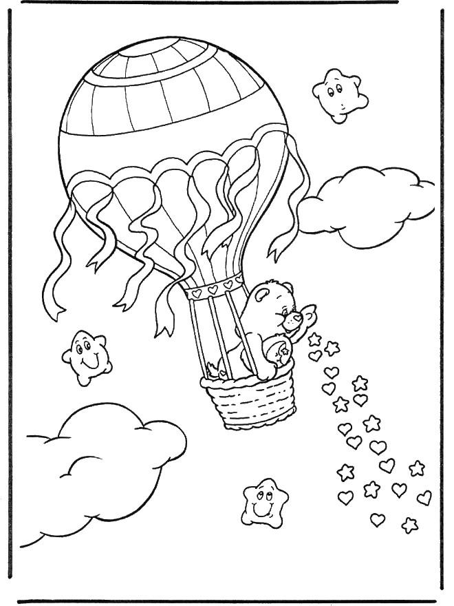 Coloriage et dessins gratuits L'ours dans  Montgolfière chinoise à imprimer