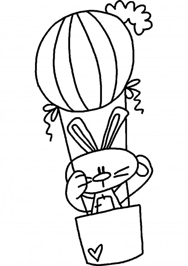 Coloriage et dessins gratuits Lapin dans une Montgolfière à imprimer