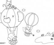 Coloriage Les Animaux dans des Montgolfières magique