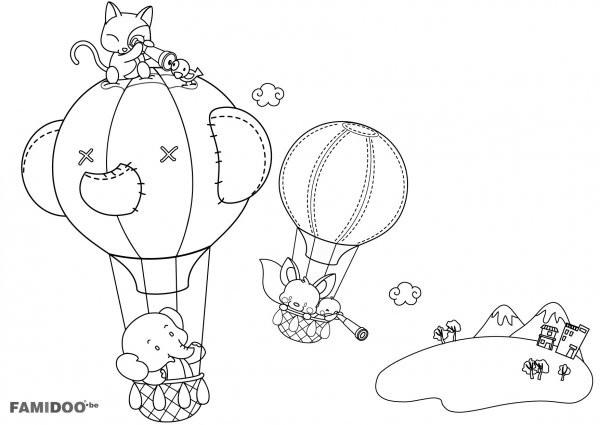 Coloriage et dessins gratuits Les Animaux dans des Montgolfières magique à imprimer