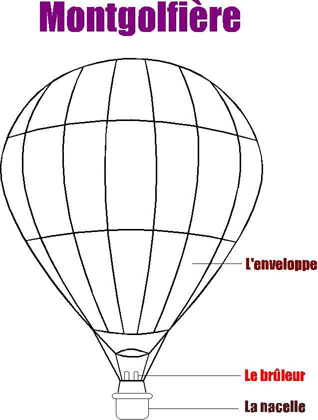 Coloriage les composants de montgolfi re dessin gratuit - Dessin montgolfiere ...