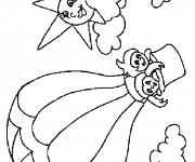 Coloriage Les enfants amusées dans une Montgolfière
