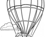 Coloriage et dessins gratuit Les enfants dans Montgolfière te saluent à imprimer