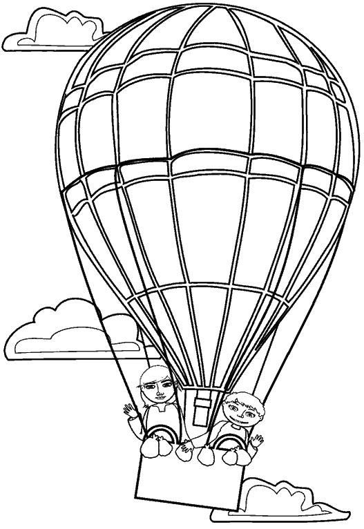 Coloriage et dessins gratuits Les enfants dans Montgolfière te saluent à imprimer