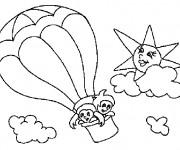 Coloriage Les Enfants pilotent La Montgolfière