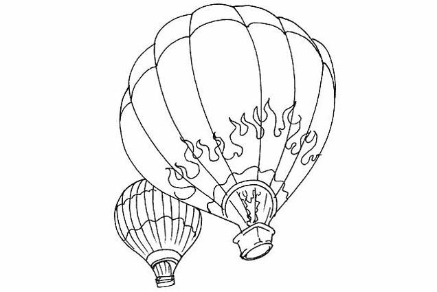 Coloriage et dessins gratuits Montgolfière décoration en flamme à imprimer