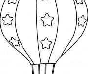 Coloriage et dessins gratuit Montgolfière décorée avec des étoiles à imprimer