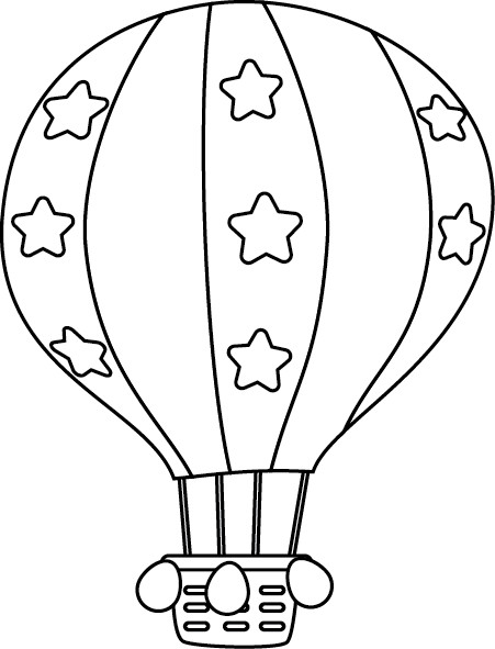 Coloriage et dessins gratuits Montgolfière décorée avec des étoiles à imprimer