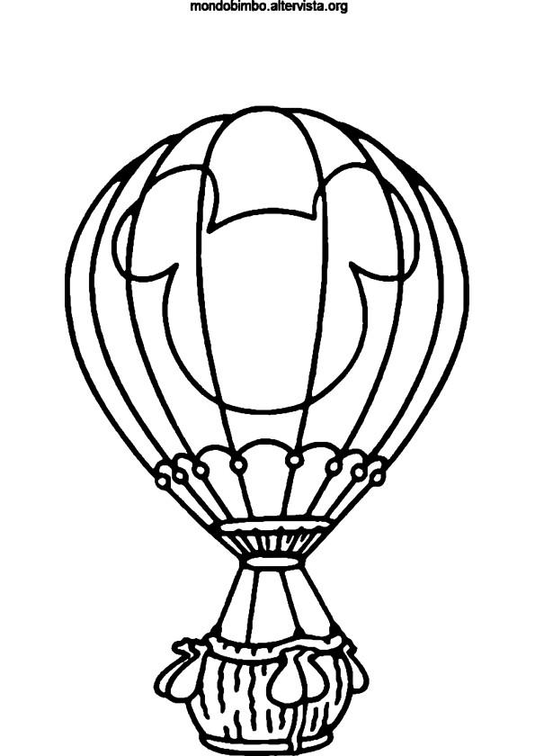 Coloriage et dessins gratuits Montgolfière décorée avec Mickey Mouse à imprimer