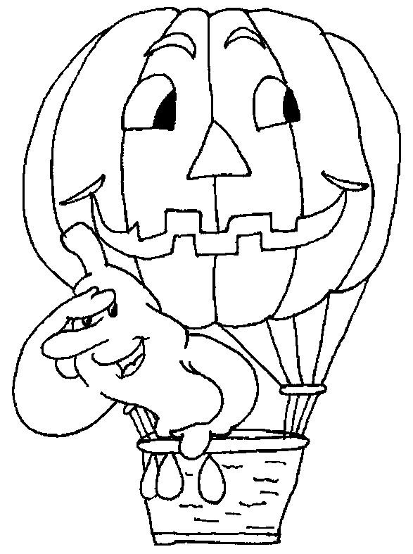 Coloriage et dessins gratuits Montgolfière en forme de Citrouille à imprimer