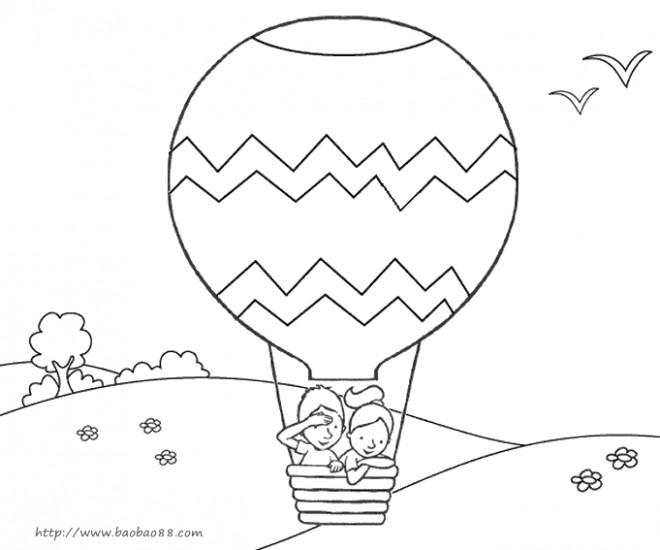 Coloriage et dessins gratuits Montgolfière en vol sur la campagne à imprimer