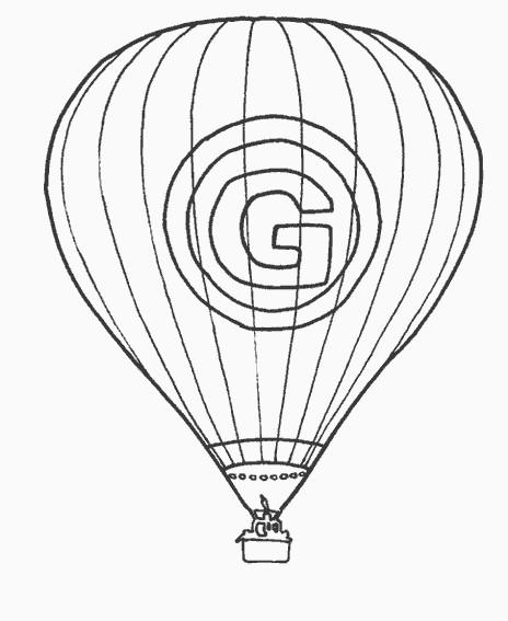 Coloriage et dessins gratuits Montgolfière et la lettre G à imprimer