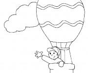 Coloriage Montgolfière et petit garçon en ligne