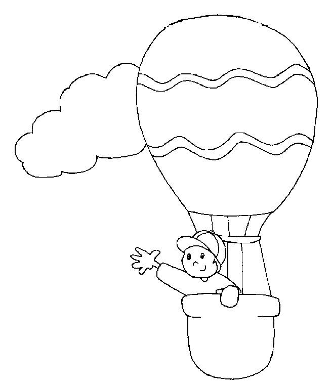 Coloriage et dessins gratuits Montgolfière et petit garçon en ligne à imprimer