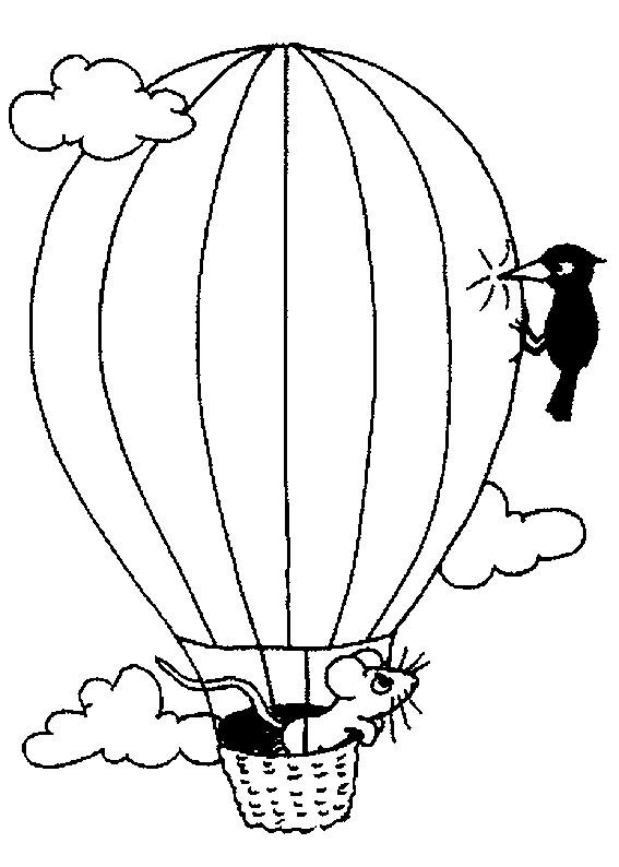 Coloriage et dessins gratuits Montgolfière humoristique à imprimer