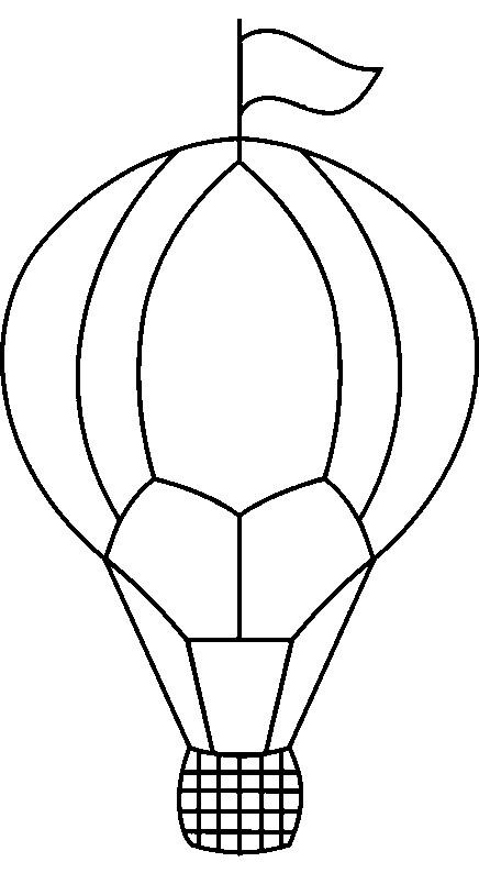 Coloriage et dessins gratuits Montgolfière simple avec drapeau à imprimer