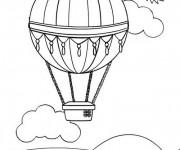 Coloriage et dessins gratuit Montgolfière sous le soleil à imprimer