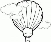 Coloriage et dessins gratuit Montgolfière sous les nuages à imprimer