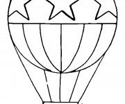Coloriage et dessins gratuit Montgolfière  stylisé décorée en étoiles à imprimer