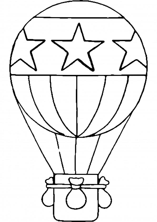 Coloriage et dessins gratuits Montgolfière  stylisé décorée en étoiles à imprimer