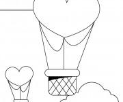 Coloriage Montgolfières en forme de coeurs