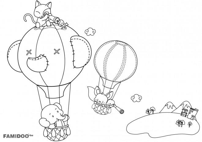 Coloriage et dessins gratuits Montgolfières transportent les animaux à imprimer