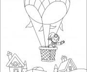 Coloriage et dessins gratuit Pinocchio en Montgolfière à imprimer