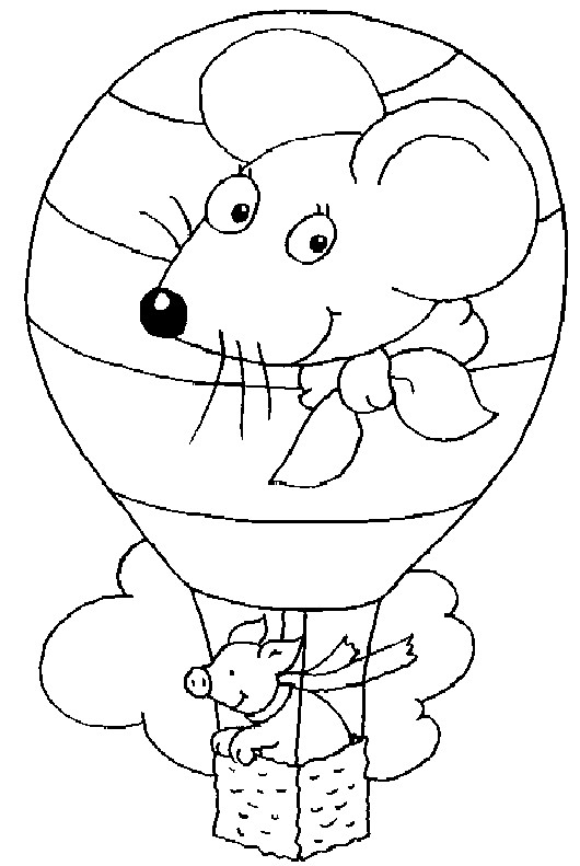 Coloriage et dessins gratuits Un cochon dans Une Montgolfière à imprimer