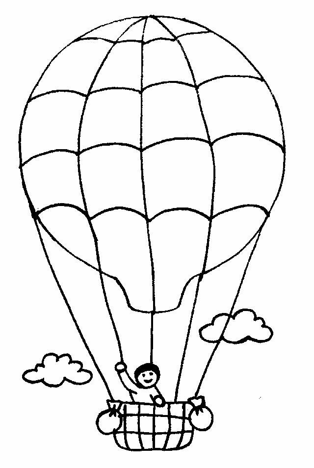 Coloriage et dessins gratuits Un Garçon sur  Montgolfière à imprimer