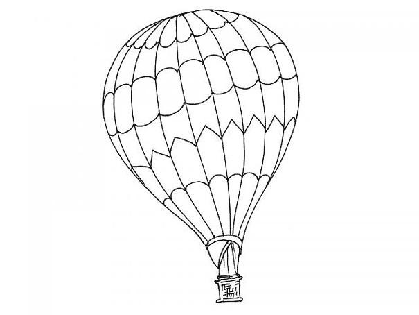Coloriage et dessins gratuits Une Montgolfière en noir et blanc à imprimer